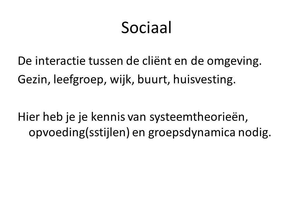 Sociaal De interactie tussen de cliënt en de omgeving.