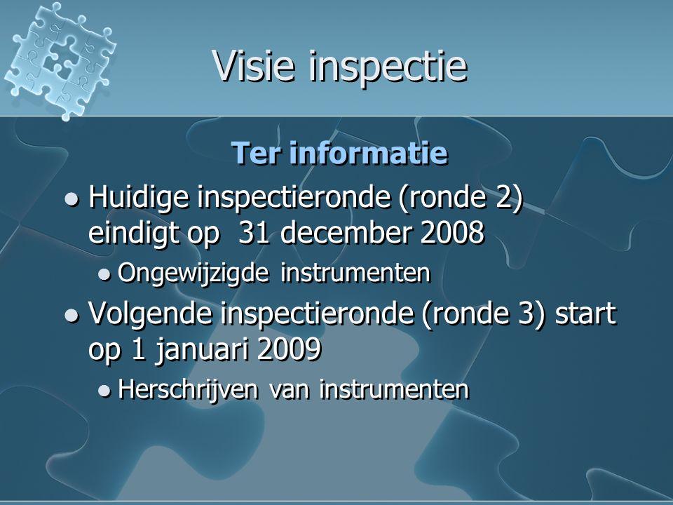 Visie inspectie Visie inspectie Ter informatie Huidige inspectieronde (ronde 2) eindigt op 31 december 2008 Ongewijzigde instrumenten Volgende inspectieronde (ronde 3) start op 1 januari 2009 Herschrijven van instrumenten Ter informatie Huidige inspectieronde (ronde 2) eindigt op 31 december 2008 Ongewijzigde instrumenten Volgende inspectieronde (ronde 3) start op 1 januari 2009 Herschrijven van instrumenten