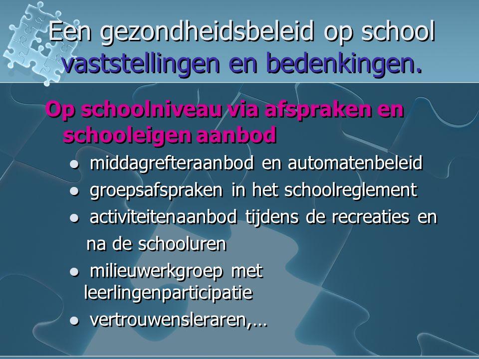 Een gezondheidsbeleid op school vaststellingen en bedenkingen.