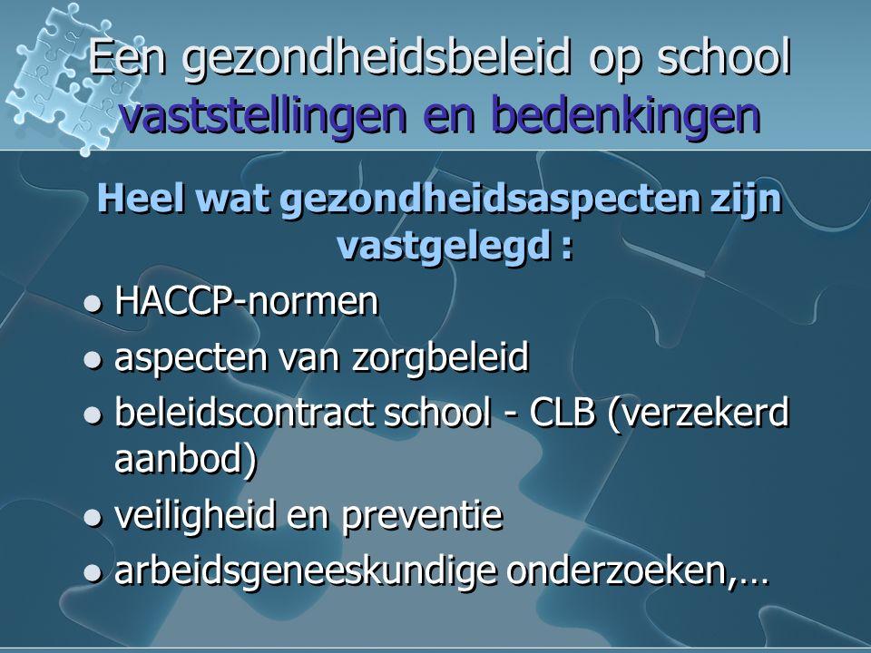 Een gezondheidsbeleid op school vaststellingen en bedenkingen Een gezondheidsbeleid op school vaststellingen en bedenkingen Heel wat gezondheidsaspecten zijn vastgelegd : HACCP-normen aspecten van zorgbeleid beleidscontract school - CLB (verzekerd aanbod) veiligheid en preventie arbeidsgeneeskundige onderzoeken,… Heel wat gezondheidsaspecten zijn vastgelegd : HACCP-normen aspecten van zorgbeleid beleidscontract school - CLB (verzekerd aanbod) veiligheid en preventie arbeidsgeneeskundige onderzoeken,…