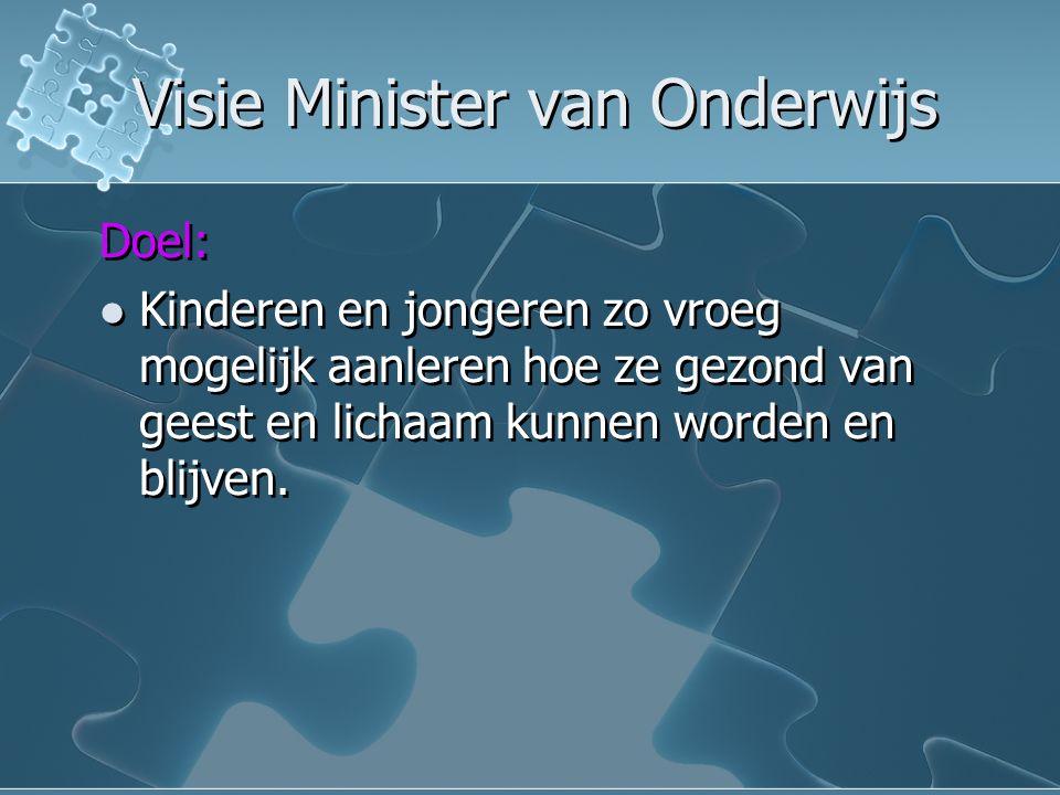 Visie Minister van Onderwijs Visie Minister van Onderwijs Doel: Kinderen en jongeren zo vroeg mogelijk aanleren hoe ze gezond van geest en lichaam kunnen worden en blijven.