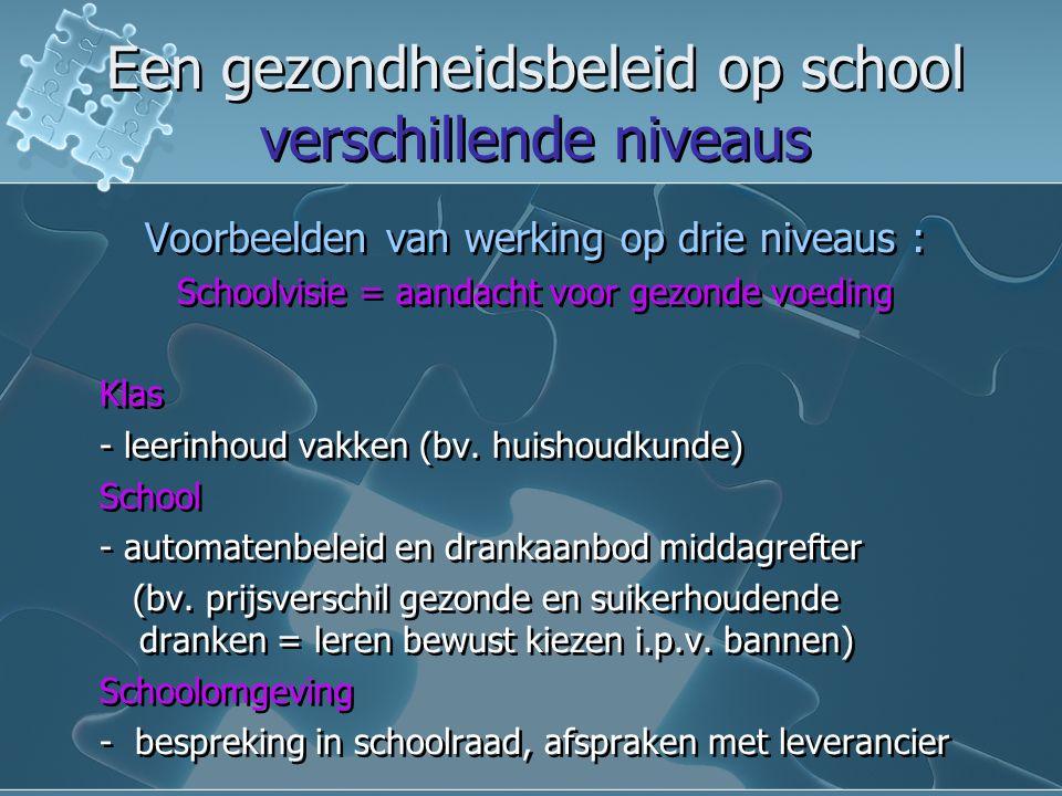 Een gezondheidsbeleid op school verschillende niveaus Een gezondheidsbeleid op school verschillende niveaus Voorbeelden van werking op drie niveaus : Schoolvisie = aandacht voor gezonde voeding Klas - leerinhoud vakken (bv.