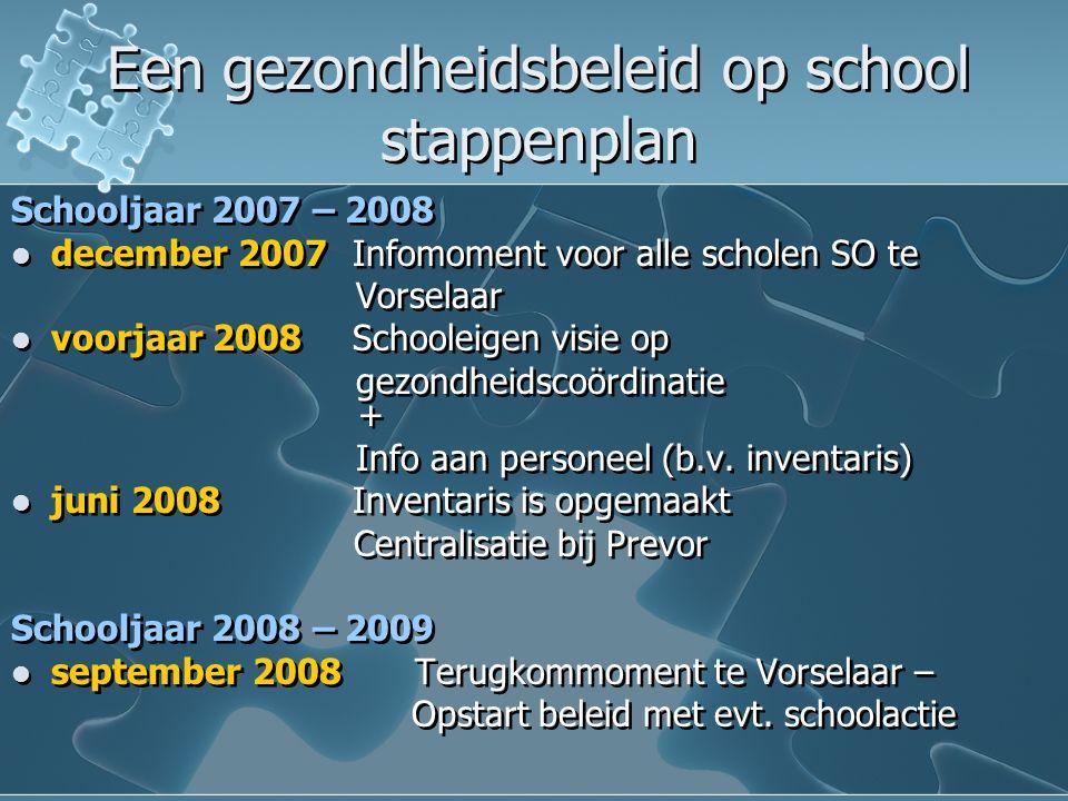 Een gezondheidsbeleid op school stappenplan Een gezondheidsbeleid op school stappenplan Schooljaar 2007 – 2008 december 2007 Infomoment voor alle scholen SO te Vorselaar voorjaar 2008 Schooleigen visie op gezondheidscoördinatie + Info aan personeel (b.v.