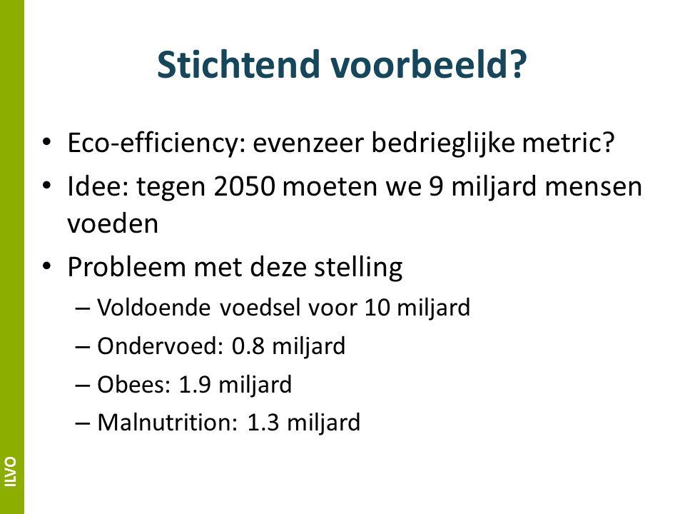 ILVO Stichtend voorbeeld. Eco-efficiency: evenzeer bedrieglijke metric.