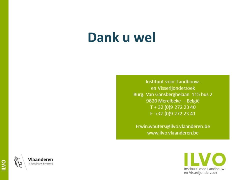 ILVO Dank u wel Instituut voor Landbouw- en Visserijonderzoek Burg.