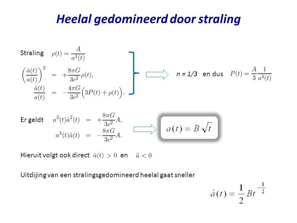 Heelal gedomineerd door straling n = 1/3 en dus Er geldt Hieruit volgt ook direct en Straling Uitdijing van een stralingsgedomineerd heelal gaat sneller