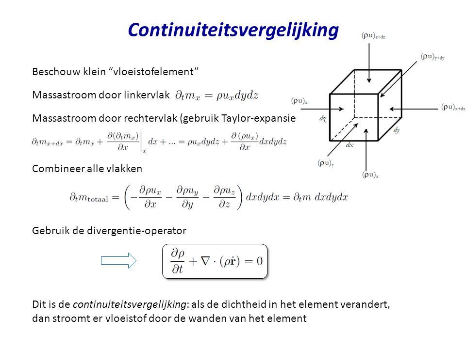 Continuiteitsvergelijking Beschouw klein vloeistofelement Massastroom door linkervlak Combineer alle vlakken Dit is de continuiteitsvergelijking: als de dichtheid in het element verandert, dan stroomt er vloeistof door de wanden van het element Massastroom door rechtervlak (gebruik Taylor-expansie Gebruik de divergentie-operator