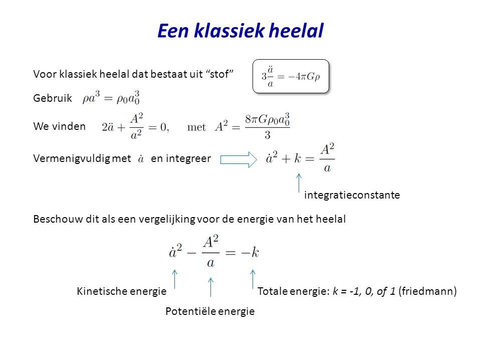 Een klassiek heelal Voor klassiek heelal dat bestaat uit stof Gebruik We vinden Vermenigvuldig met en integreer Beschouw dit als een vergelijking voor de energie van het heelal integratieconstante Kinetische energieTotale energie: k = -1, 0, of 1 (friedmann) Potentiële energie