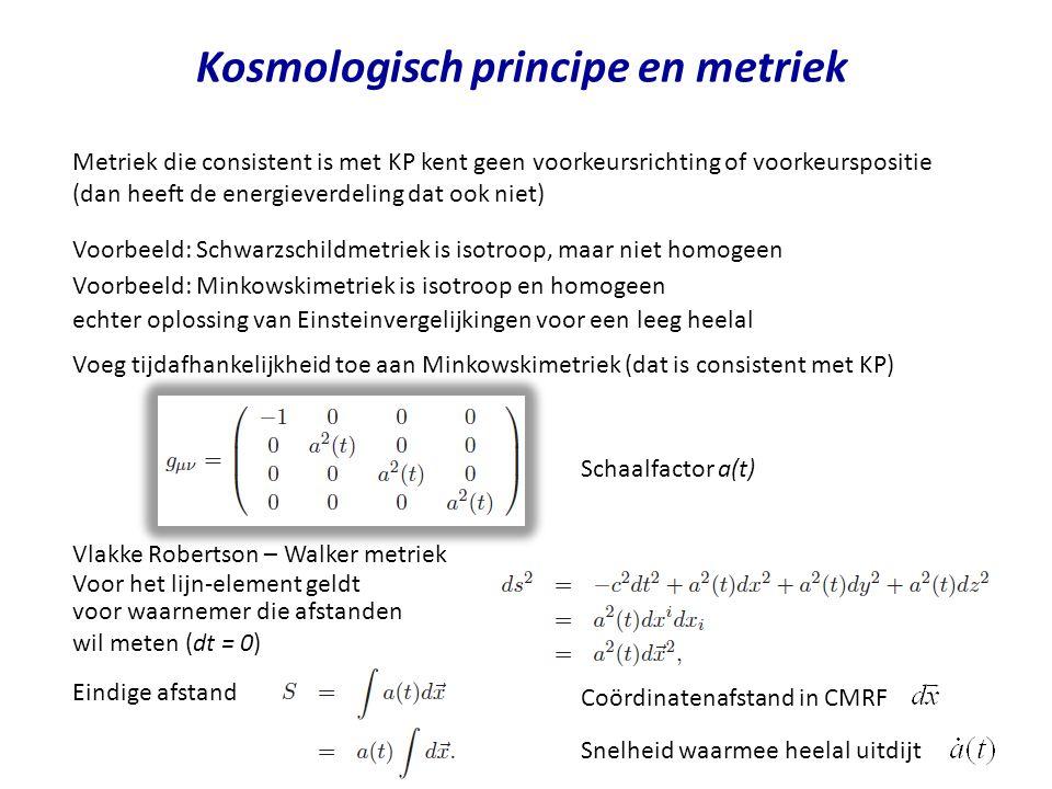 Kosmologisch principe en metriek Metriek die consistent is met KP kent geen voorkeursrichting of voorkeurspositie (dan heeft de energieverdeling dat ook niet) Voorbeeld: Schwarzschildmetriek is isotroop, maar niet homogeen Vlakke Robertson – Walker metriek echter oplossing van Einsteinvergelijkingen voor een leeg heelal Voorbeeld: Minkowskimetriek is isotroop en homogeen Voeg tijdafhankelijkheid toe aan Minkowskimetriek (dat is consistent met KP) Schaalfactor a(t) Voor het lijn-element geldt voor waarnemer die afstanden wil meten (dt = 0) Eindige afstand Coördinatenafstand in CMRF Snelheid waarmee heelal uitdijt
