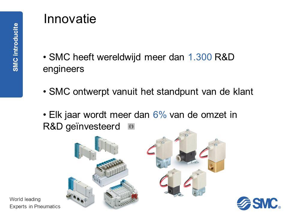 World leading Experts in Pneumatics Innovatie SMC heeft wereldwijd meer dan 1.300 R&D engineers SMC ontwerpt vanuit het standpunt van de klant Elk jaa