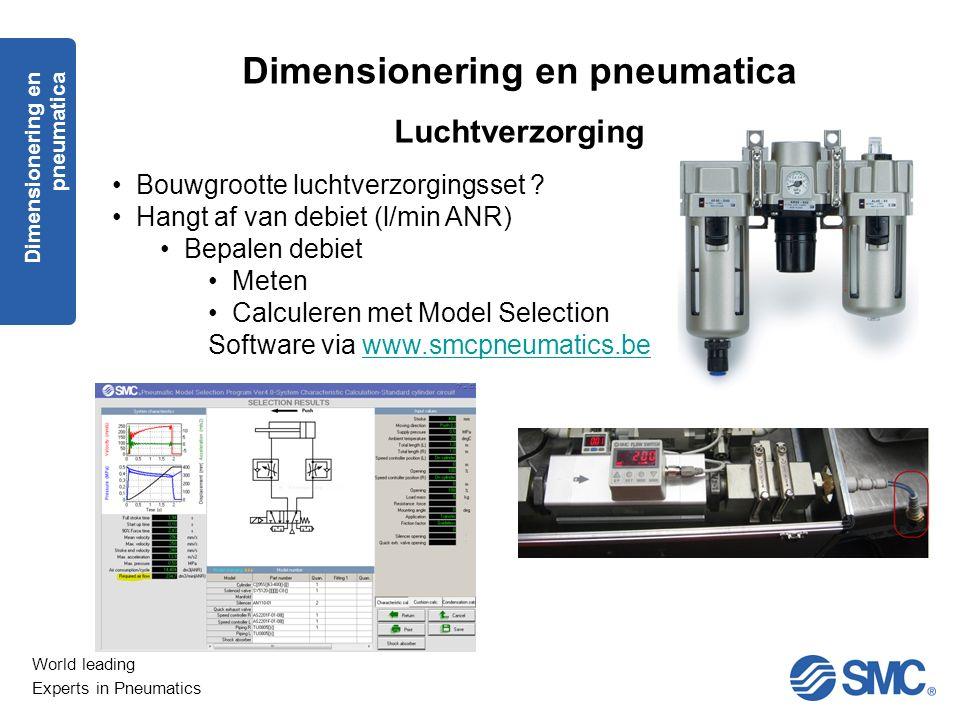 World leading Experts in Pneumatics Dimensionering en pneumatica Luchtverzorging Bouwgrootte luchtverzorgingsset ? Hangt af van debiet (l/min ANR) Bep