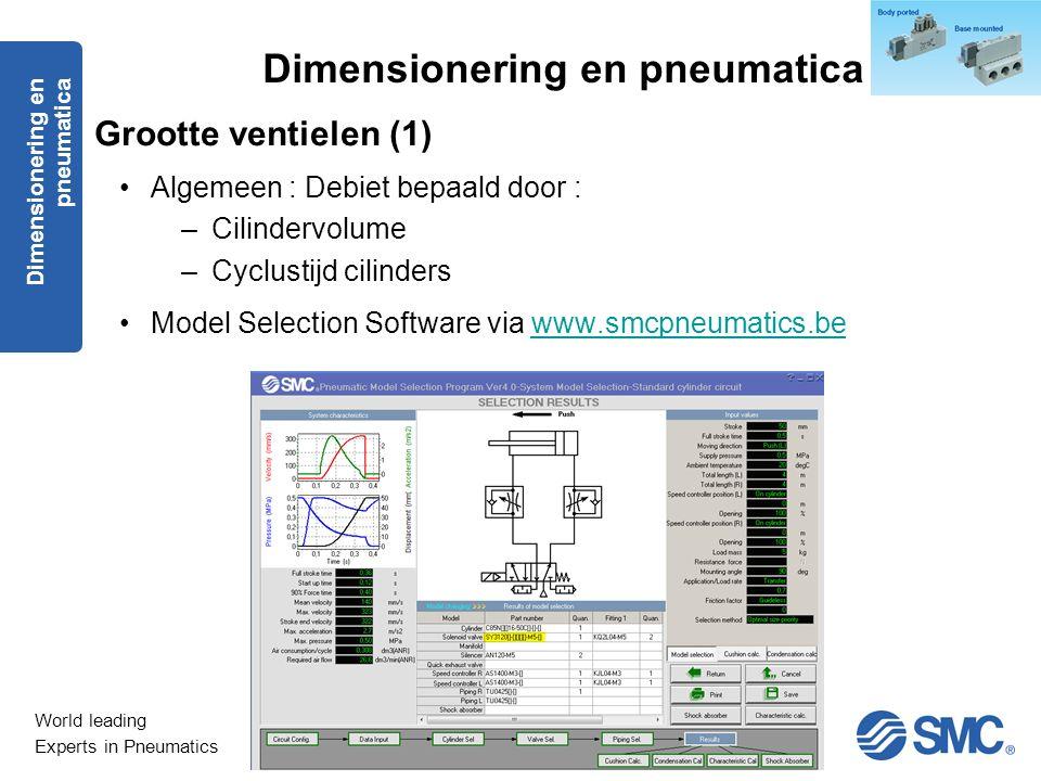 World leading Experts in Pneumatics Grootte ventielen (1) Algemeen : Debiet bepaald door : –Cilindervolume –Cyclustijd cilinders Model Selection Softw