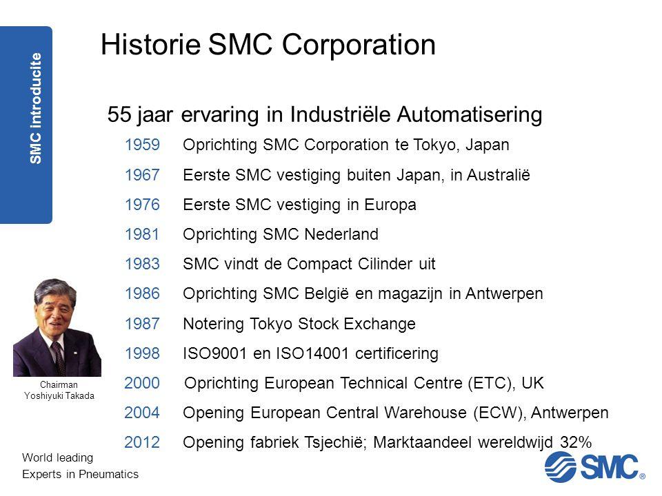 World leading Experts in Pneumatics Historie SMC Corporation 1959 Oprichting SMC Corporation te Tokyo, Japan 1967 Eerste SMC vestiging buiten Japan, i