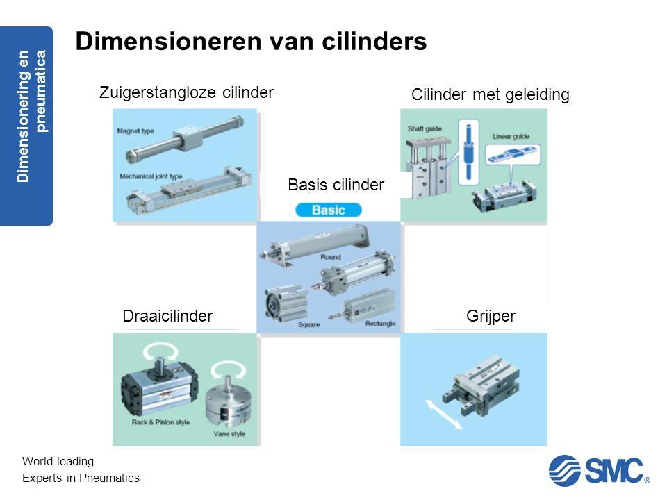 World leading Experts in Pneumatics Zuigerstangloze cilinder Cilinder met geleiding Basis cilinder DraaicilinderGrijper Dimensionering en pneumatica D
