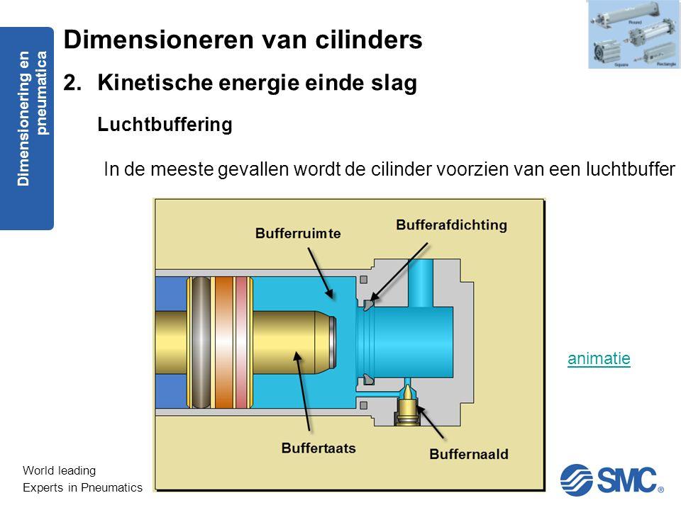 World leading Experts in Pneumatics In de meeste gevallen wordt de cilinder voorzien van een luchtbuffer Dimensioneren van cilinders 2.Kinetische ener