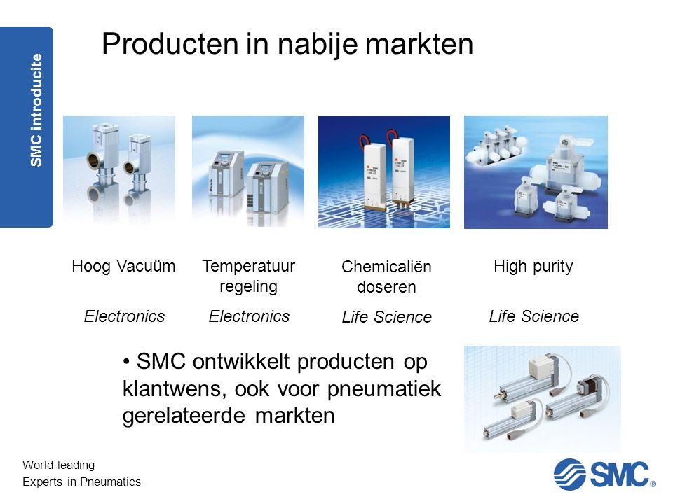 World leading Experts in Pneumatics SMC ontwikkelt producten op klantwens, ook voor pneumatiek gerelateerde markten Producten in nabije markten Hoog V