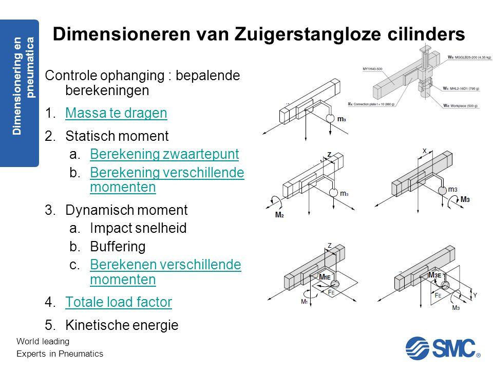 World leading Experts in Pneumatics Controle ophanging : bepalende berekeningen 1.Massa te dragenMassa te dragen 2.Statisch moment a.Berekening zwaart