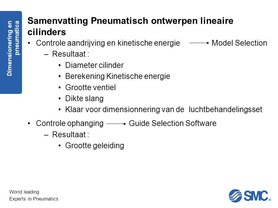 World leading Experts in Pneumatics Samenvatting Pneumatisch ontwerpen lineaire cilinders Controle aandrijving en kinetische energie Model Selection –