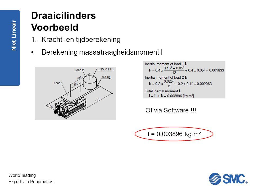 World leading Experts in Pneumatics Niet Lineair 1.Kracht- en tijdberekening Berekening massatraagheidsmoment I Draaicilinders Voorbeeld Of via Softwa