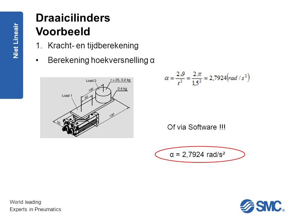 World leading Experts in Pneumatics Niet Lineair 1.Kracht- en tijdberekening Berekening hoekversnelling α Draaicilinders Voorbeeld Of via Software !!!