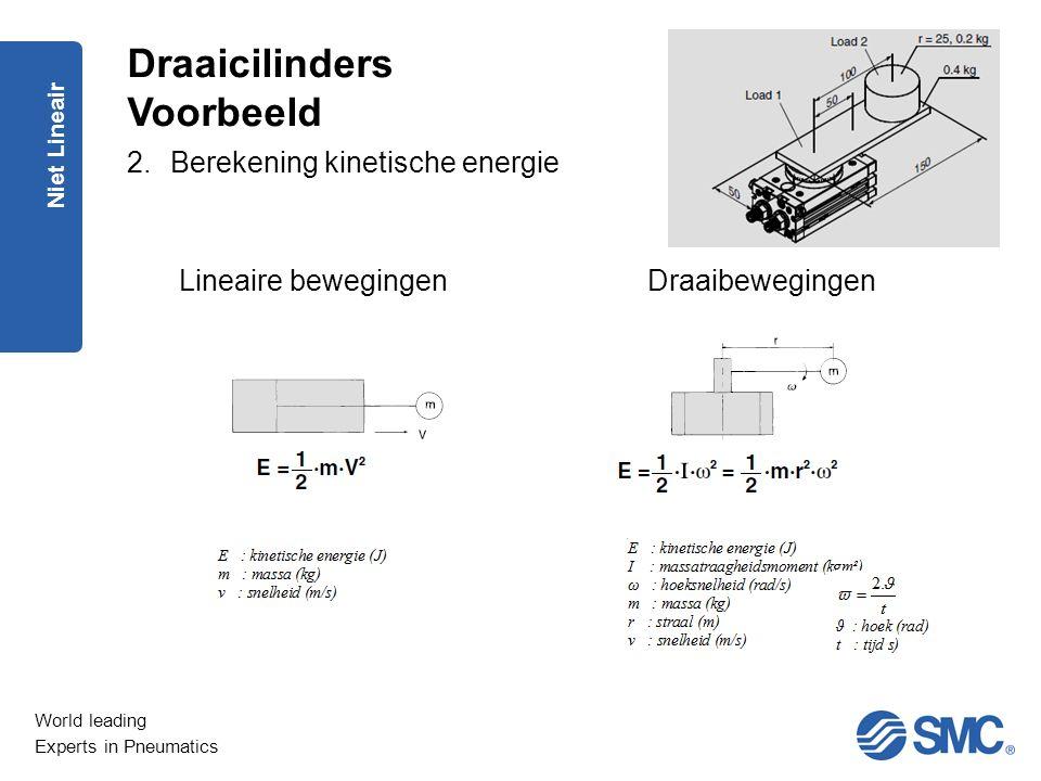 World leading Experts in Pneumatics Niet Lineair 2.Berekening kinetische energie Lineaire bewegingenDraaibewegingen Draaicilinders Voorbeeld