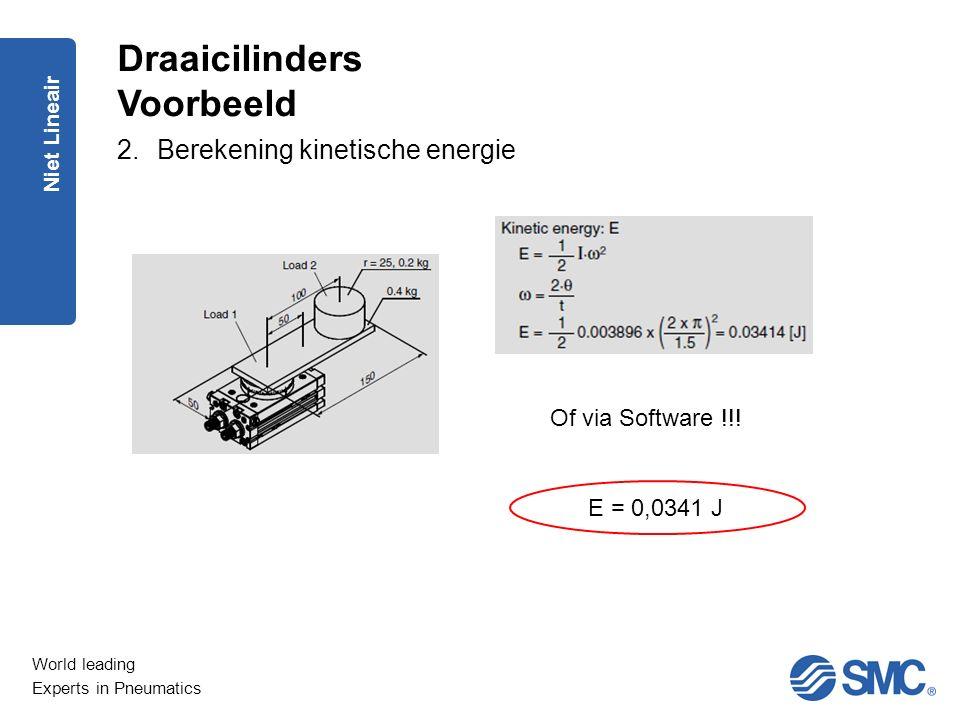 World leading Experts in Pneumatics Niet Lineair 2.Berekening kinetische energie Draaicilinders Voorbeeld Of via Software !!! E = 0,0341 J