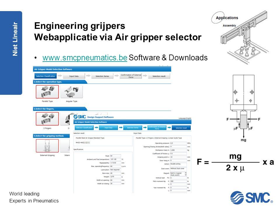World leading Experts in Pneumatics Engineering grijpers Webapplicatie via Air gripper selector Niet Lineair www.smcpneumatics.be Software & Downloads