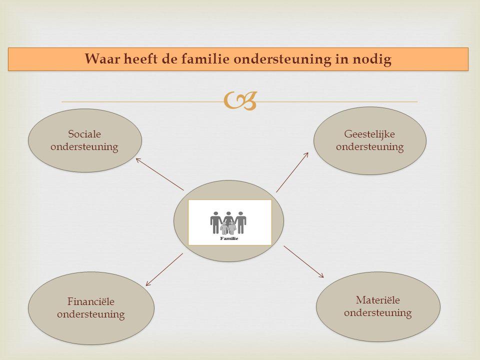  Waar heeft de familie ondersteuning in nodig Geestelijke ondersteuning Sociale ondersteuning Financiële ondersteuning Financiële ondersteuning Materiële ondersteuning