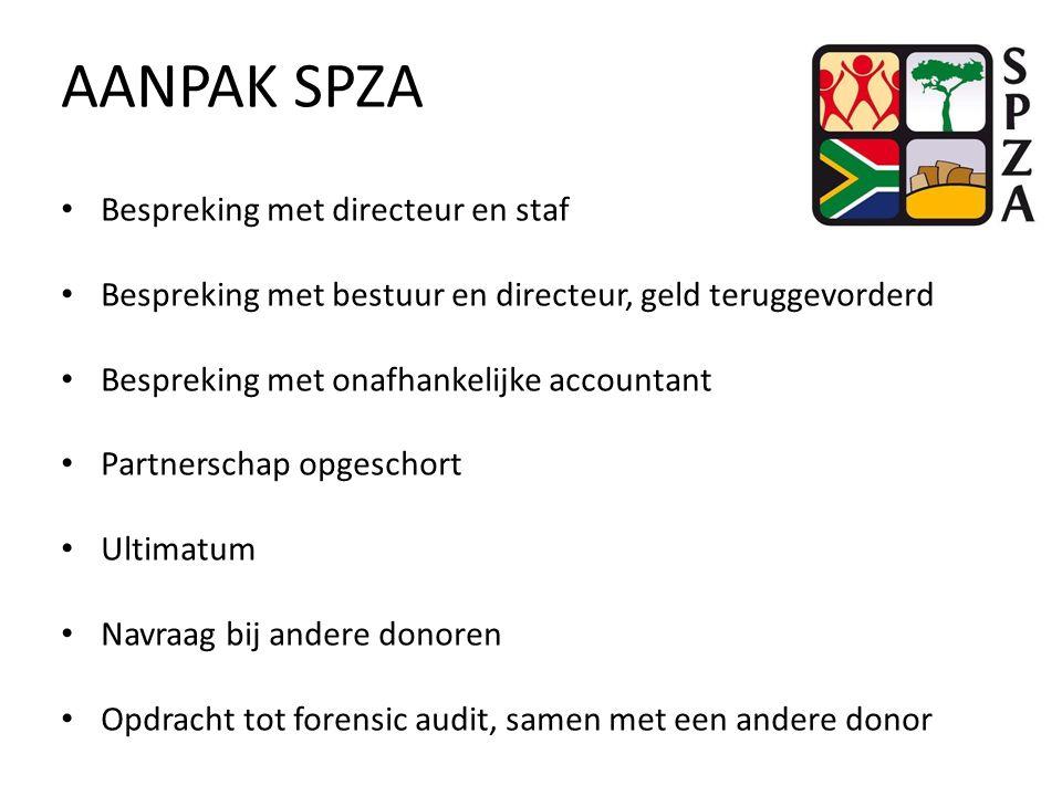 AANPAK SPZA Bespreking met directeur en staf Bespreking met bestuur en directeur, geld teruggevorderd Bespreking met onafhankelijke accountant Partnerschap opgeschort Ultimatum Navraag bij andere donoren Opdracht tot forensic audit, samen met een andere donor
