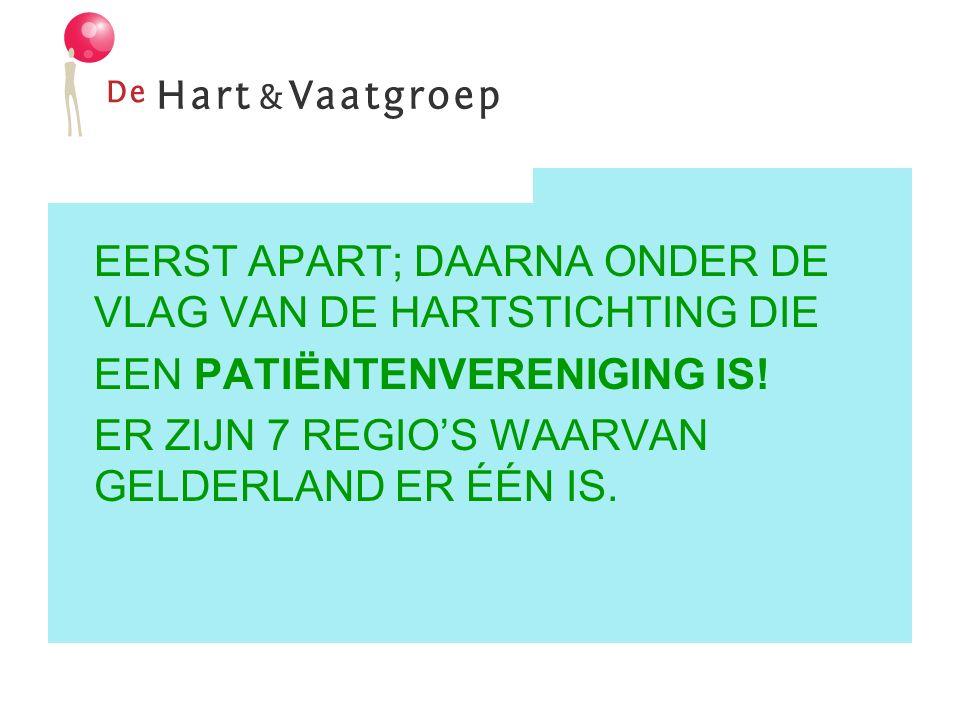 EERST APART; DAARNA ONDER DE VLAG VAN DE HARTSTICHTING DIE EEN PATIËNTENVERENIGING IS.