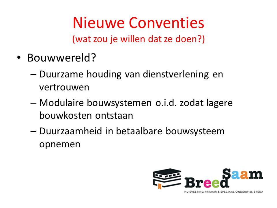 Nieuwe Conventies (wat zou je willen dat ze doen?) Bouwwereld.