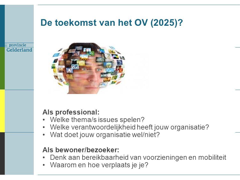 De toekomst van het OV (2025). Als professional: Welke thema/s issues spelen.
