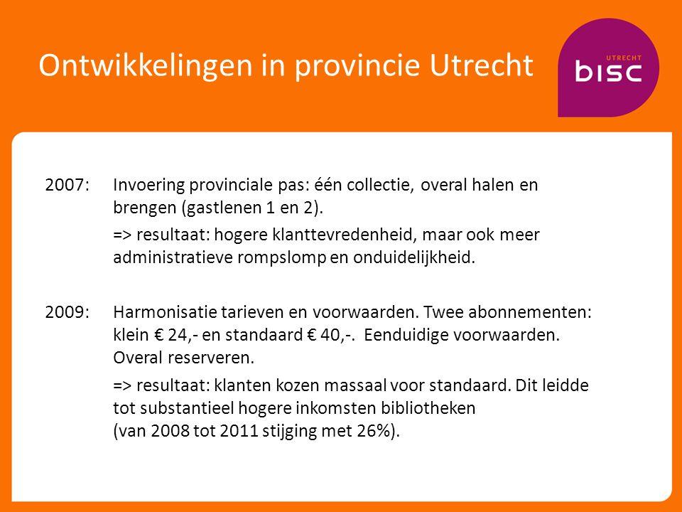 Ontwikkelingen in provincie Utrecht 2007: Invoering provinciale pas: één collectie, overal halen en brengen (gastlenen 1 en 2).