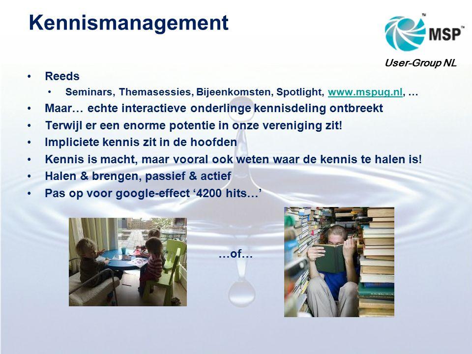 Kennismanagement Reeds Seminars, Themasessies, Bijeenkomsten, Spotlight, www.mspug.nl, …www.mspug.nl Maar… echte interactieve onderlinge kennisdeling ontbreekt Terwijl er een enorme potentie in onze vereniging zit.