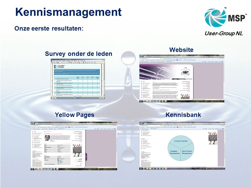 Kennismanagement Onze eerste resultaten: User-Group NL Survey onder de leden Yellow PagesKennisbank Website