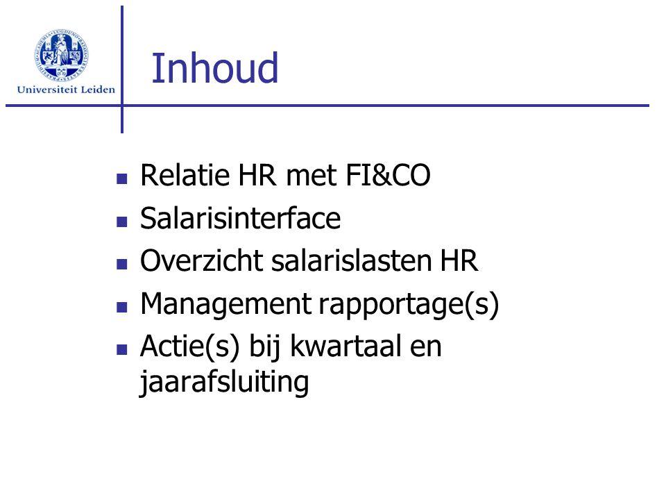 Inhoud Relatie HR met FI&CO Salarisinterface Overzicht salarislasten HR Management rapportage(s) Actie(s) bij kwartaal en jaarafsluiting