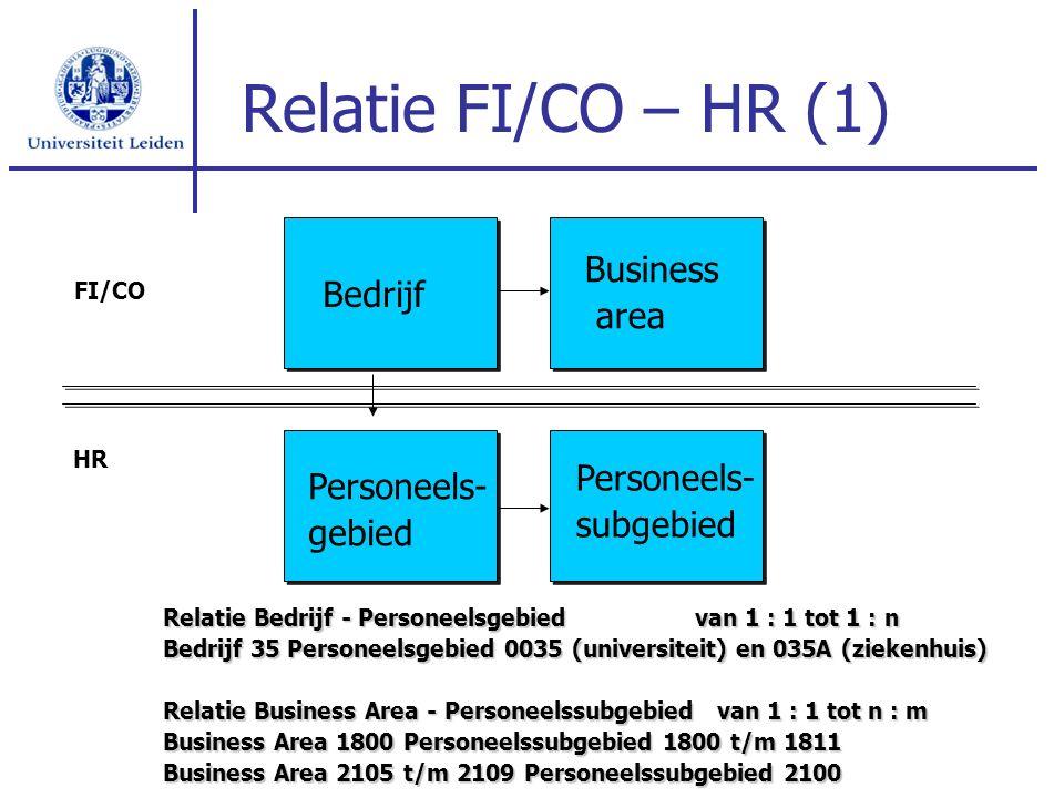 Relatie FI/CO – HR (1) Relatie Bedrijf - Personeelsgebiedvan 1 : 1 tot 1 : n Bedrijf 35 Personeelsgebied 0035 (universiteit) en 035A (ziekenhuis) Rela
