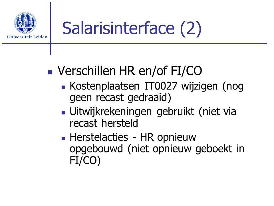 Salarisinterface (2) Verschillen HR en/of FI/CO Kostenplaatsen IT0027 wijzigen (nog geen recast gedraaid) Uitwijkrekeningen gebruikt (niet via recast