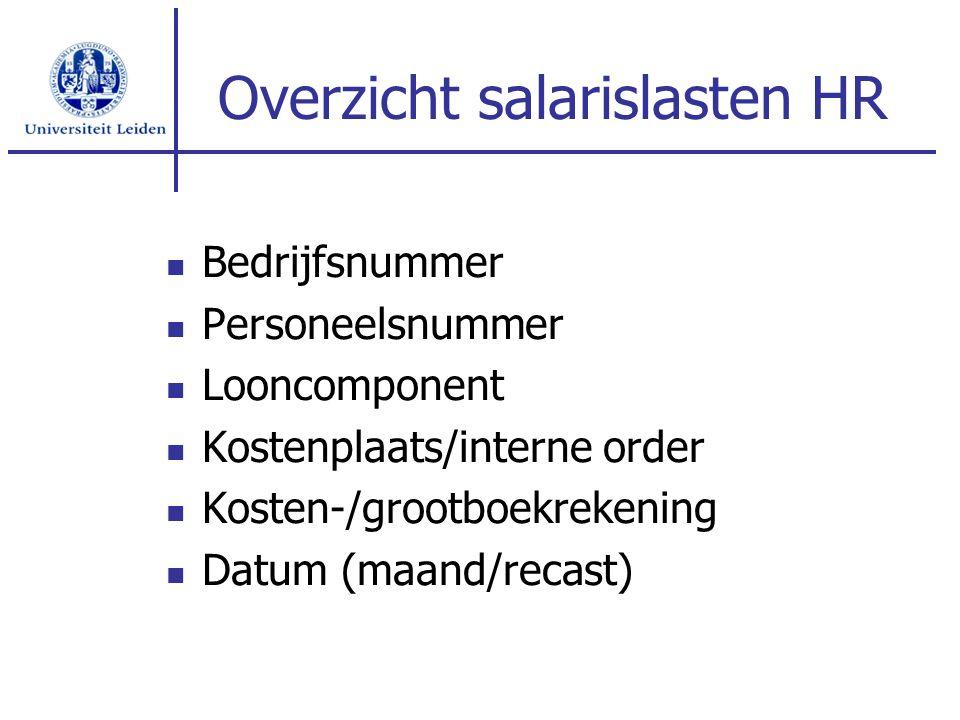 Overzicht salarislasten HR Bedrijfsnummer Personeelsnummer Looncomponent Kostenplaats/interne order Kosten-/grootboekrekening Datum (maand/recast)