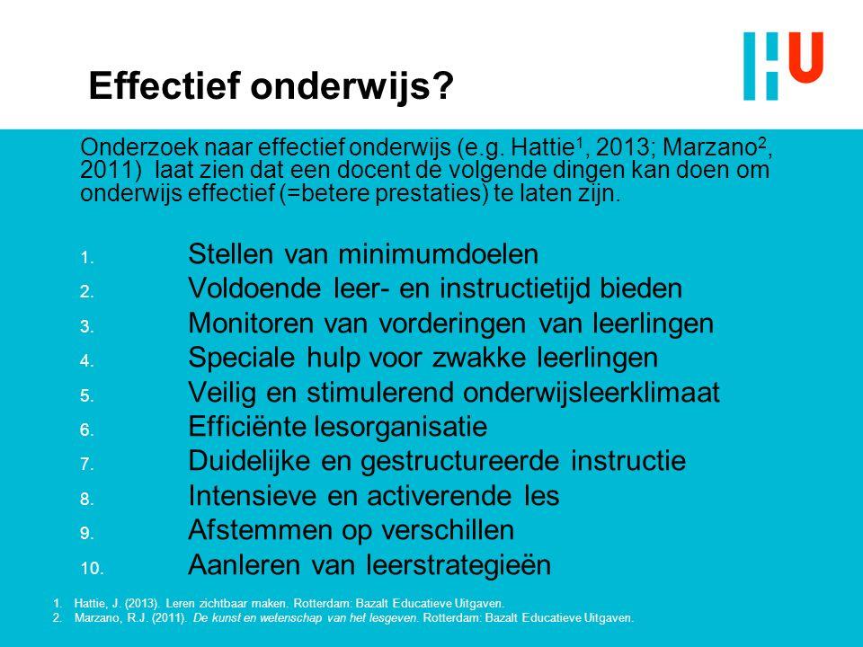 Effectief onderwijs.Onderzoek naar effectief onderwijs (e.g.