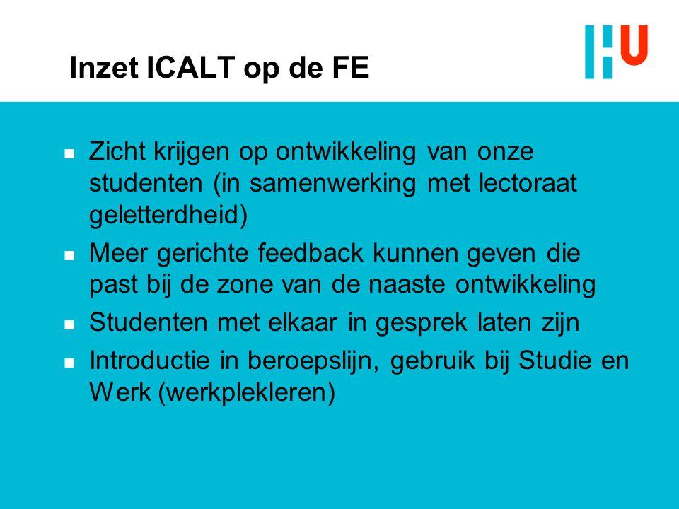 Inzet ICALT op de FE n Zicht krijgen op ontwikkeling van onze studenten (in samenwerking met lectoraat geletterdheid) n Meer gerichte feedback kunnen geven die past bij de zone van de naaste ontwikkeling n Studenten met elkaar in gesprek laten zijn n Introductie in beroepslijn, gebruik bij Studie en Werk (werkplekleren)