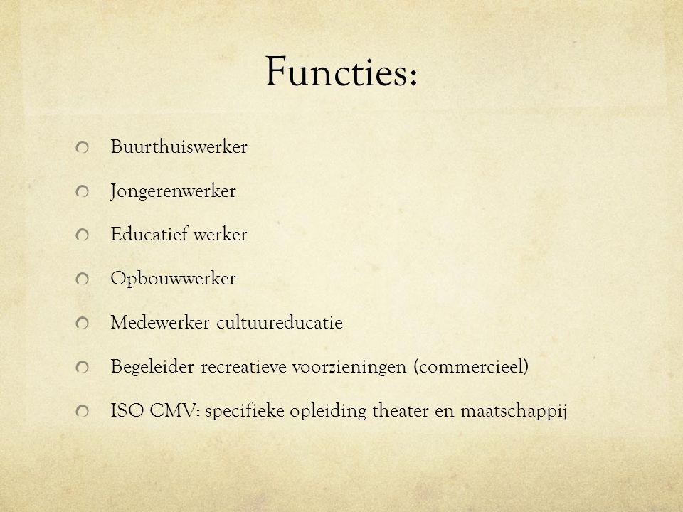 Functies: Buurthuiswerker Jongerenwerker Educatief werker Opbouwwerker Medewerker cultuureducatie Begeleider recreatieve voorzieningen (commercieel) ISO CMV: specifieke opleiding theater en maatschappij