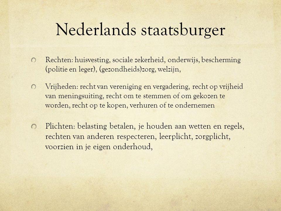 Nederlands staatsburger Rechten: huisvesting, sociale zekerheid, onderwijs, bescherming (politie en leger), (gezondheids)zorg, welzijn, Vrijheden: rec