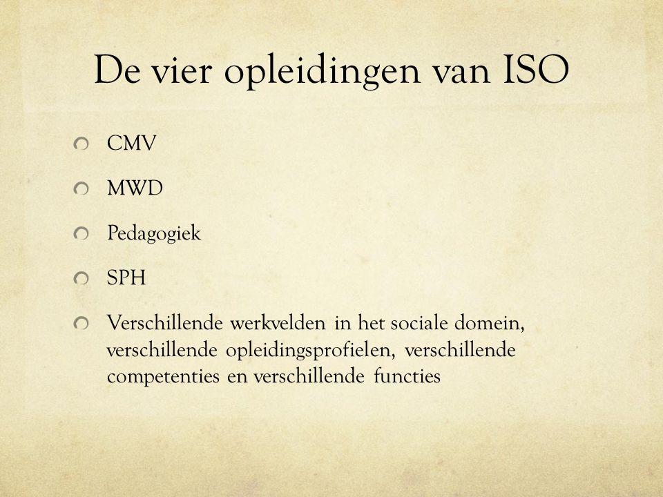 De vier opleidingen van ISO CMV MWD Pedagogiek SPH Verschillende werkvelden in het sociale domein, verschillende opleidingsprofielen, verschillende competenties en verschillende functies