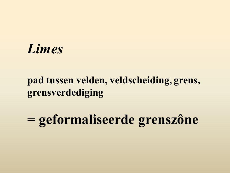 Limes pad tussen velden, veldscheiding, grens, grensverdediging = geformaliseerde grenszône