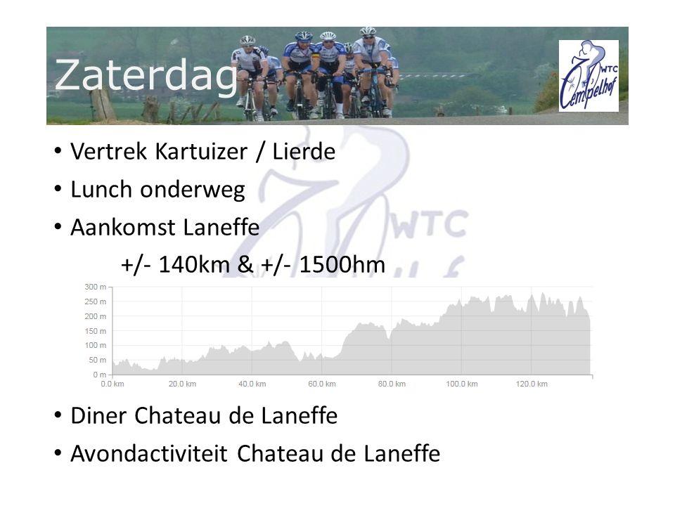 Zaterdag Vertrek Kartuizer / Lierde Lunch onderweg Aankomst Laneffe +/- 140km & +/- 1500hm Diner Chateau de Laneffe Avondactiviteit Chateau de Laneffe