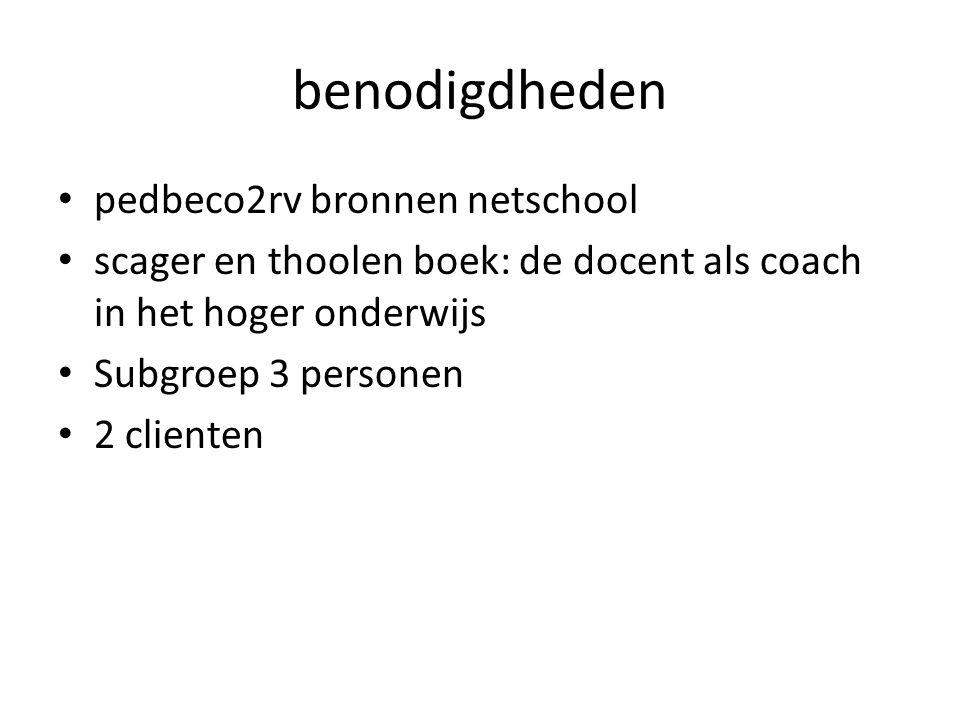 benodigdheden pedbeco2rv bronnen netschool scager en thoolen boek: de docent als coach in het hoger onderwijs Subgroep 3 personen 2 clienten