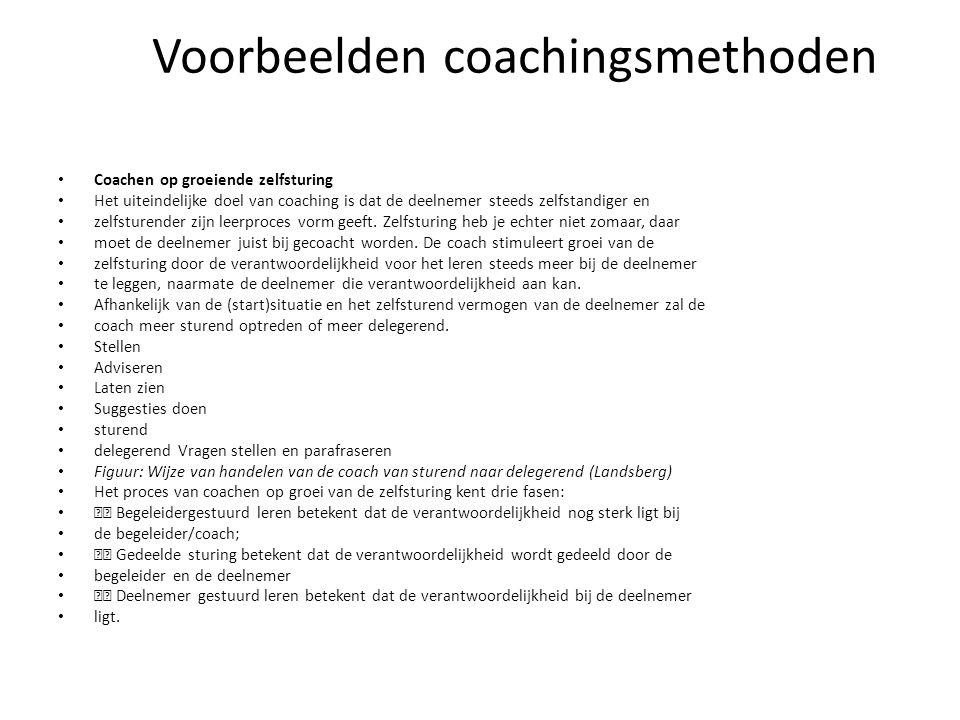 Voorbeelden coachingsmethoden Coachen op groeiende zelfsturing Het uiteindelijke doel van coaching is dat de deelnemer steeds zelfstandiger en zelfsturender zijn leerproces vorm geeft.