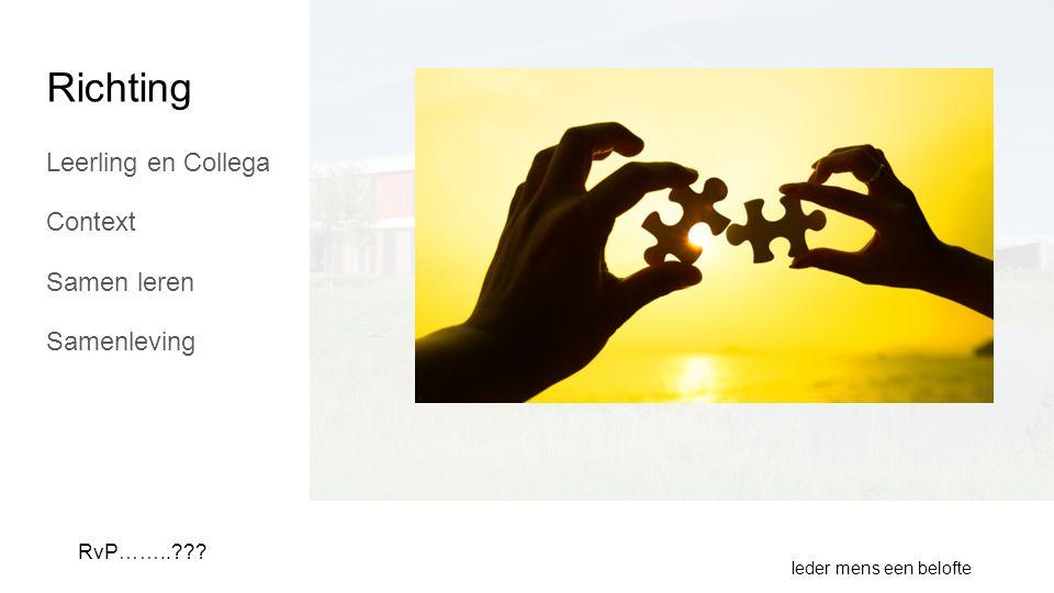 Richting Leerling en Collega Context Samen leren Samenleving Ieder mens een belofte RvP……..???