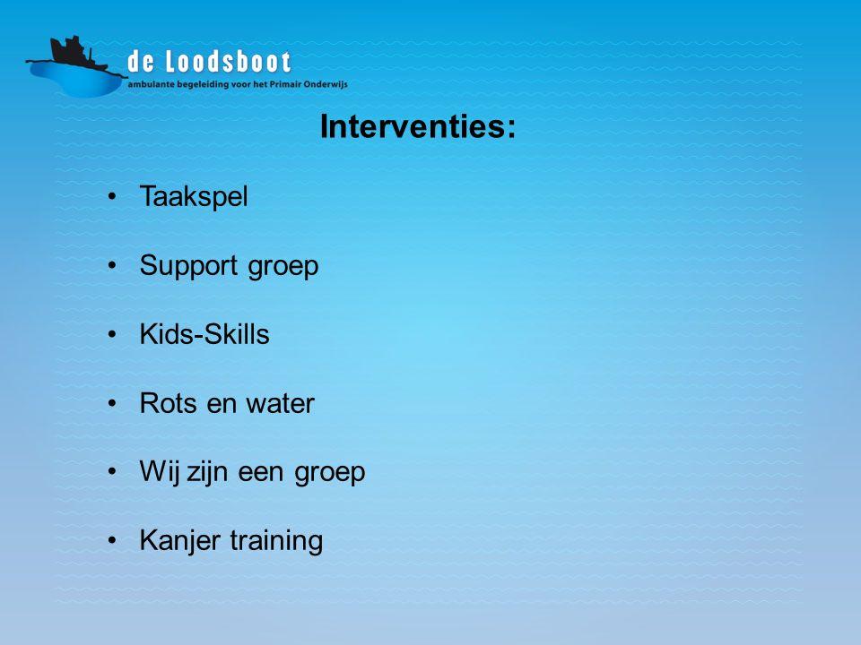 Interventies: Taakspel Support groep Kids-Skills Rots en water Wij zijn een groep Kanjer training